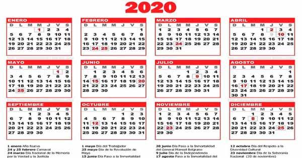 los feriados para el 2020