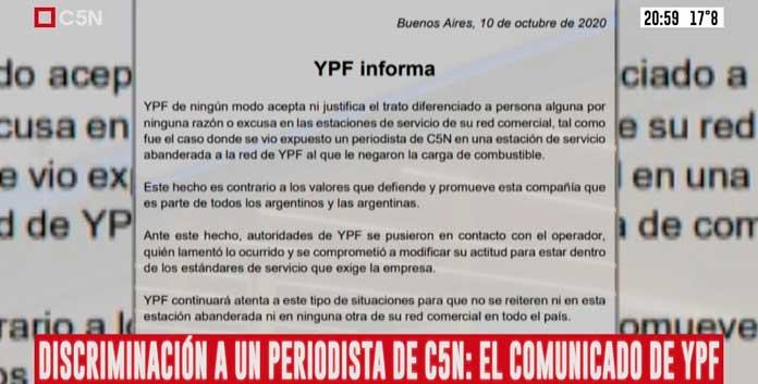 YPF emitió un comunicado